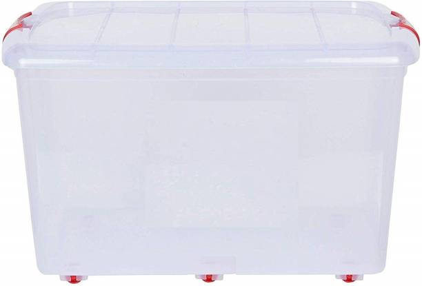 T TOPLINE Multipurpose Storage Container Box with Wheels (25 LTR) Pack of 1 - (Transparent)  - 25 L Plastic Utility Container