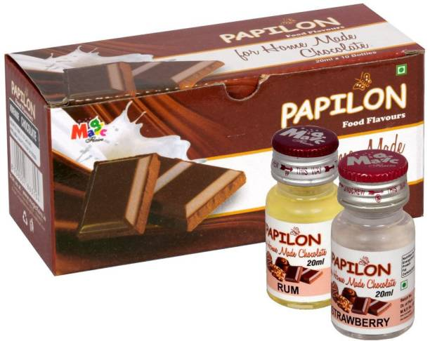 PAPILON Homemade Chocolate Flavours pack of 10 Mixed Fruit Liquid Food Essence