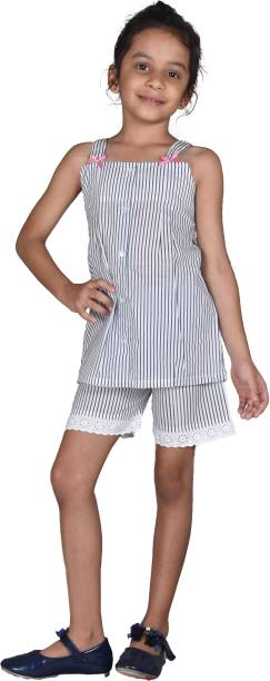 Ninos Dreams Kids Nightwear Girls Striped Cotton Viscose Blend