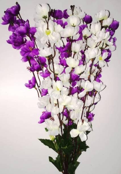 KAYKON Artificial Flower Bunch For Home Decor - 22 Inch White, Purple Orchids Artificial Flower