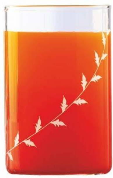BOROSIL (Pack of 6) Large Krip white Vision D'Signer Glass Set, 350 ml, 6-Pieces, Transparent Glass Set