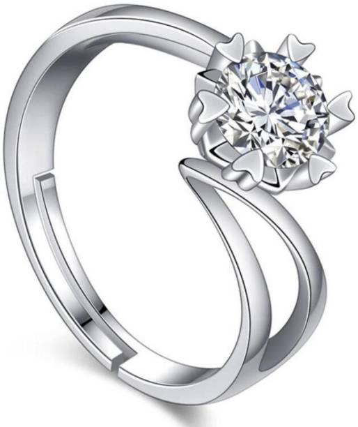 0f5456282aa MYKI Super Diamond Adjustable Silver Ring For Women & Girls Stainless Steel  Swarovski Crystal Sterling Silver