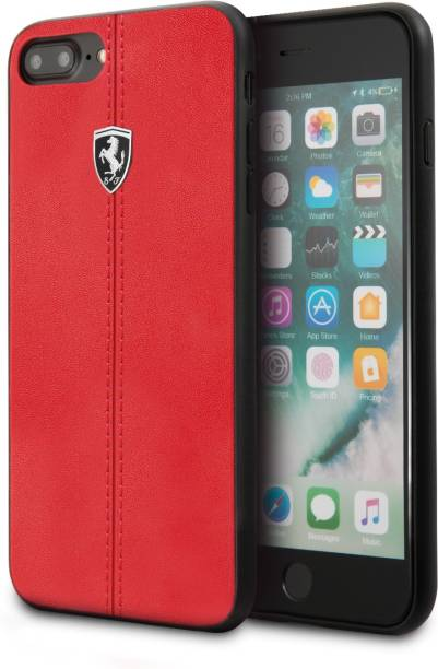 Ferrari Back Cover for iPhone 7 Plus / iPhone 8 Plus Vertical Contrasted Stripe - Material Heritage leather Hard Case