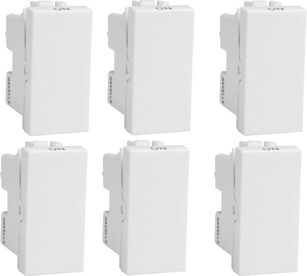 HAVELLS Coral 10A one Way Switch (Pack of 6) 10 A One Way Electrical Switch