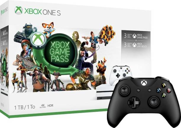 MICROSOFT Xbox One Slim 1 TB with Xbox Starter Bundle (3 Months Xbox Game Pass and Xbox Live Gold)