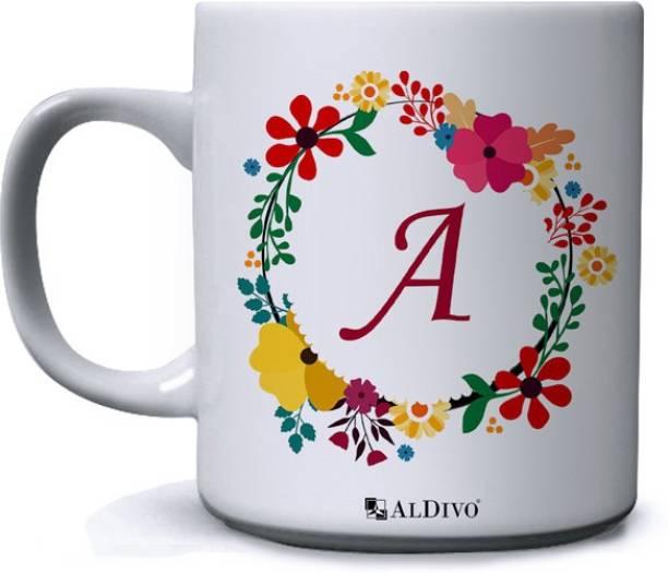 alDivo Gift Alphabet Designed Letter A Printed Ceramic Coffee Mug