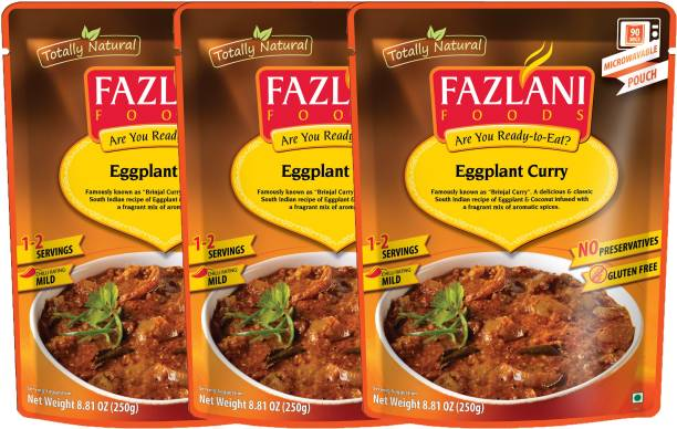 FAZLANI FOODS Ready to Eat Brinjal (Eggplant) Curry, (Pack of 3, 250gm each) 750 g