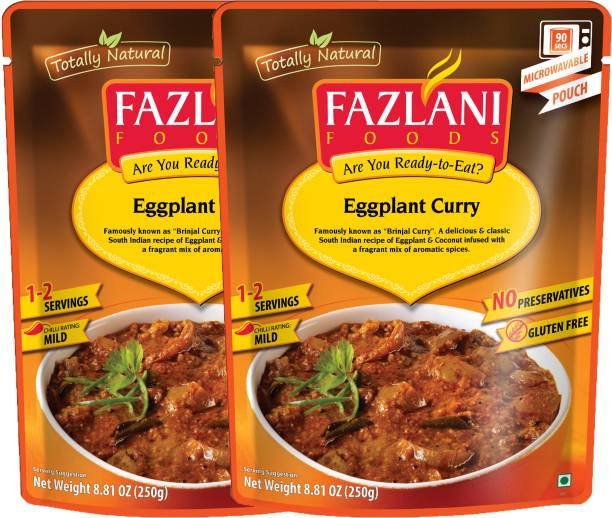 FAZLANI FOODS Ready to Eat Brinjal (Eggplant) Curry, (Pack of 2, 250gm each) 500 g