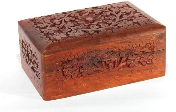 UniqueKrafts Handmade Wooden Jewellery Box for Women Jewel Organizer Hand Carved Makeup and Jewellery Vanity Box