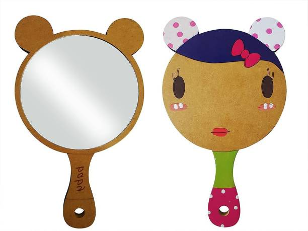 Foreign Holics Stylish Wooden Handle Hair Styling/Makeup Hand Mirror For Kids and Women (Multicolored)