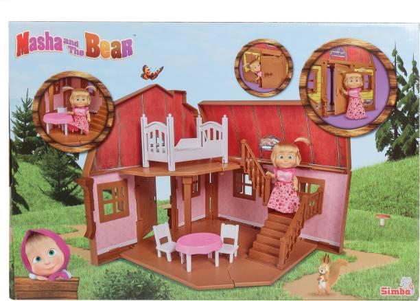 SIMBA Masha and The Bear House, 2 Floors, Foldable Toy for kids