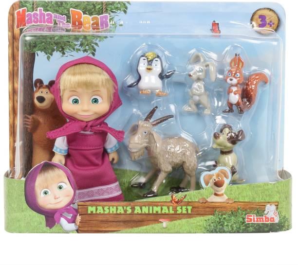 SIMBA Masha And Her Animal Friends Rabbit, Squirrel, Penguin, Dog and Goat