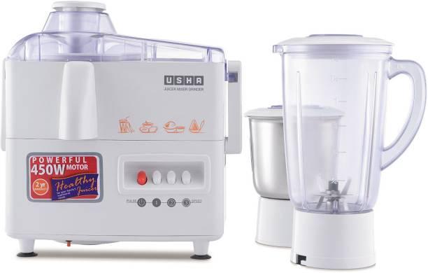 USHA 1 JMG3345 450 W Juicer Mixer Grinder (2 Jars, White)