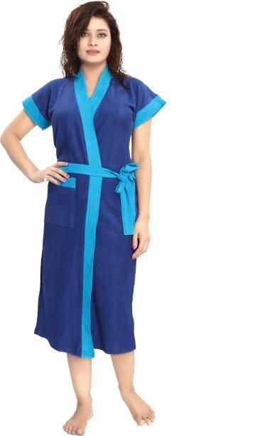 MZ ENTERPRISES Blue-Firozi strip Free Size Bath Robe