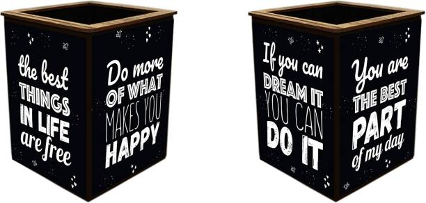 Poster N Frames 1 Compartments wooden Colorful Wooden Motivational One (1)Pen Stand # Return Gift # Office Stationery Pen Holder # Paper wieght # Desk organiser