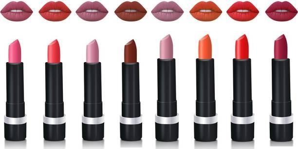 ZODAK Retro Matte Lipstick - (Pack of 8)