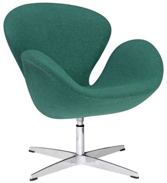 Lakdi Green Cushioned Lounger Armchair Chrome Legs - Ideal for Home, Office and Outdoor Fabric Lounger