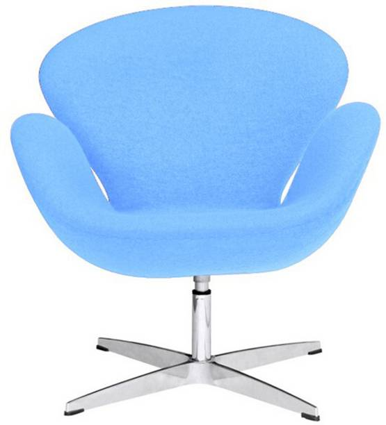 Lakdi Sky Blue Cushioned Lounger Armchair Chrome Legs - Ideal for Home, Office and Outdoor Fabric Lounger