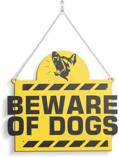 100yellow Wooden beware Of Dogs Name Plate
