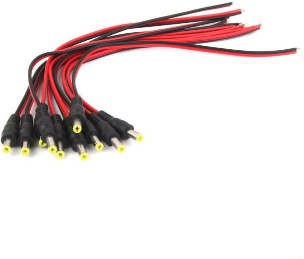 RIVER FOX 10 PIECES PACK DC Power Male Cables with 2.1mm Connectors Barrel Jack DC POWER CABLE Wire Connector