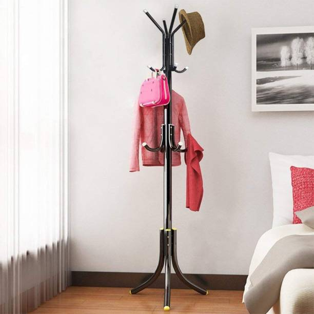 Ada Wrought Iron Coat Rack Hanger Creative Fashion Bedroom for Hanging Clothes Shelves, Wrought Iron Racks Standing Coat Rack (Black) Metal Coat Stand