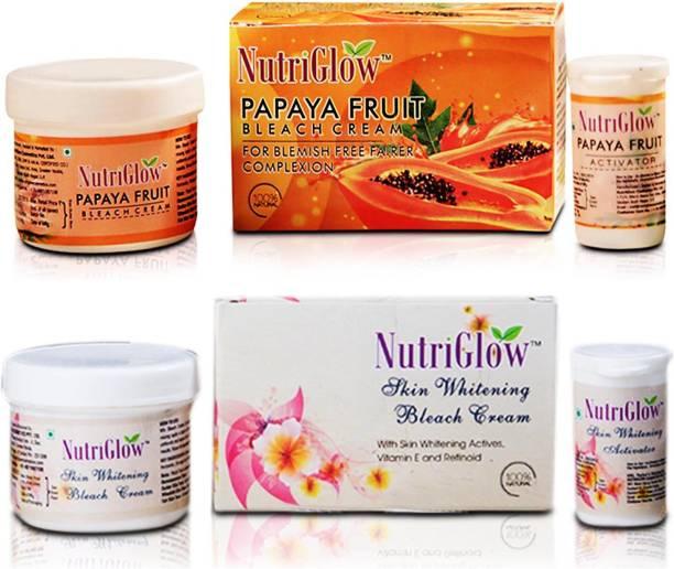NutriGlow Bleach Combo Pack of 2 Papaya Fruit, Skin Whiting Bleach Cream
