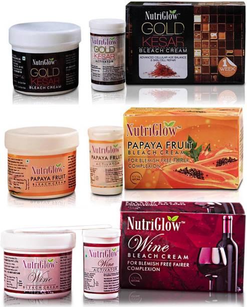 NutriGlow Bleach Combo Pack of 3 Gold Kesar, Papaya Fruit,