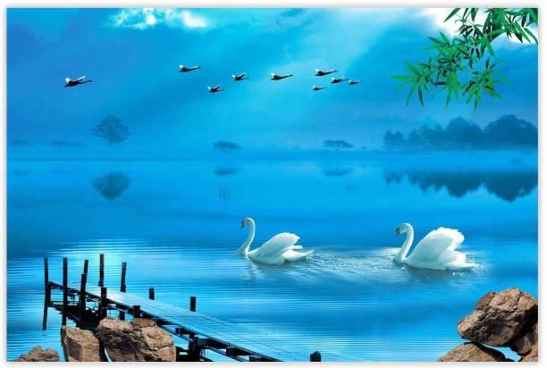 Beautiful Swan In Lake Paper Poster Paper Print