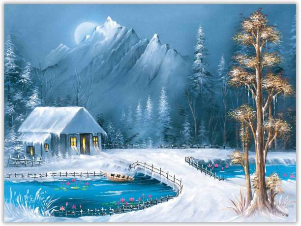 Snowy Scenery Paper Poster Paper Print