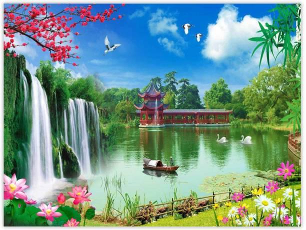 Beautiful Boat In Lake Paper Poster Paper Print