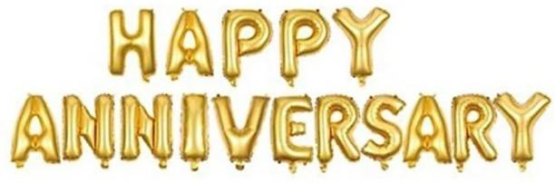 Stylin Solid HAPPY ANNIVERSARY Letter ( Golden Color ) Foil Balloon