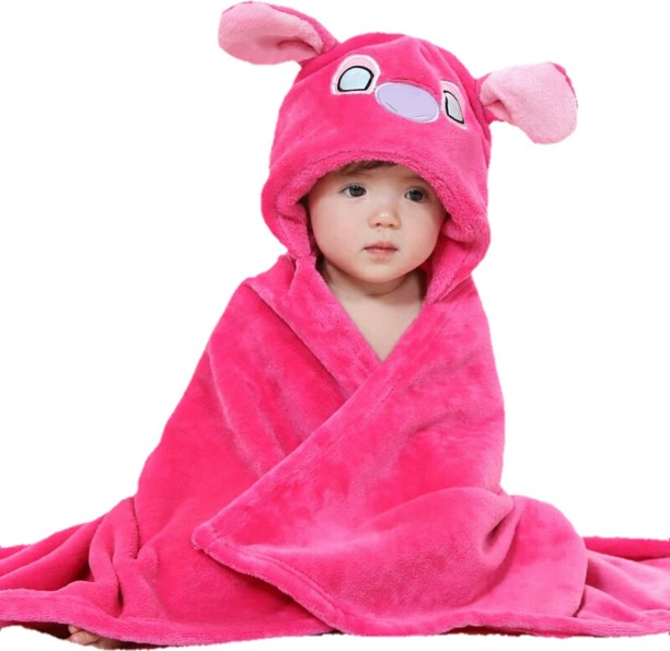 "2 Pcs Baby Bath Towel Pink Blue Fleece Blanket Infant Hooded Wrap Boy 31/""x 25/"""