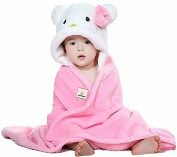 BRANDONN White, Pink Free Size Bath Robe