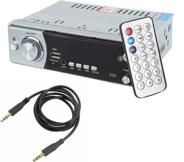 M MOD CON 009BT Silver Single Din Bluetooth/USB/FM/AUX/MMC with 3.5mm AUX Cable Car Stereo