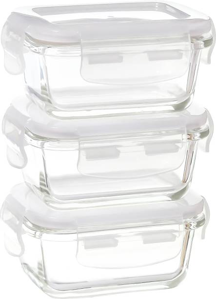 Femora Glass Microwave Safe Rectangle Container, Set of 3  - 140 ml Glass Fridge Container