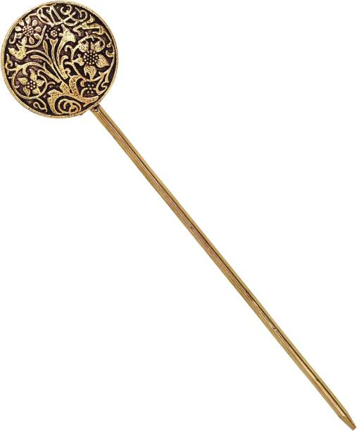 V L INTERNATIONAL Antique Vintage Hair Stick For Bun Gold Plated Metal Hair Pins For Women Bun Stick