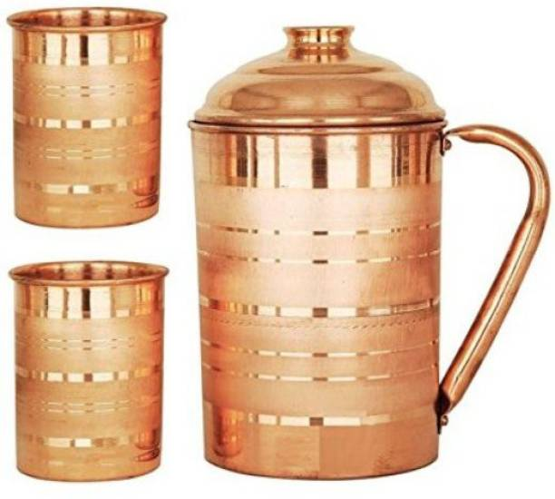 Sauran PURE COPPER SILVER TOUCH JUG WITH 2 COPPER GLASS Jug Glass Set