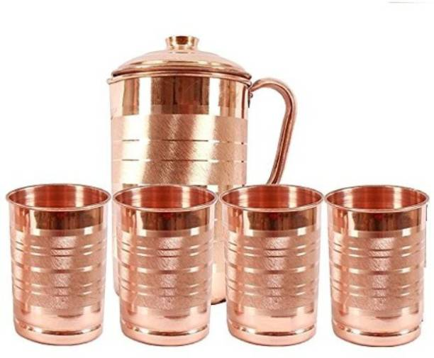 Sauran Copper Jug with 4 Copper Glasses (Ayurveda) Jug Glass Set