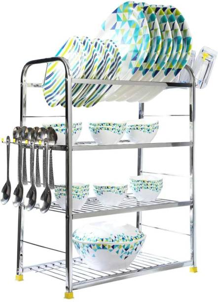 MEDED High Quality Stainless Steel 3 Layer Kitchen Dish Rack Plate Cutlery Stand/ Kitchen Utensils Rack, 24 x 18 inch, Free Standing/ Wall Mounted Utensil Kitchen Rack
