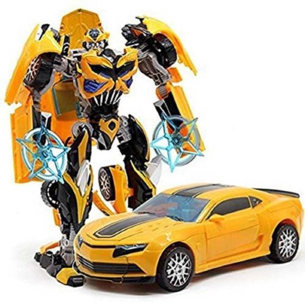 Collectionmart Transform Robot Racing Car 2 in 1 Toy with Lights & Music, Battery Operated