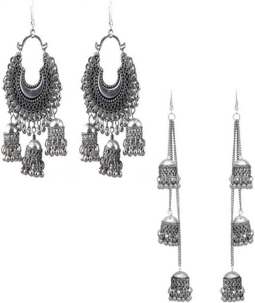 776efb335 Shining Angel Combo Of 2 Long Silver Earrings for Women and Girls Alloy  Drops & Danglers