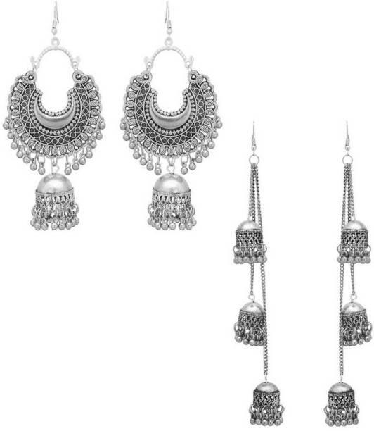 2f54083bb77d1f Shining Angel Earring Long Chani Long Jhumki Silver Colour Earring Comobo  Of 2 Earring Alloy Drops