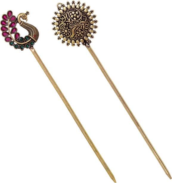 V L IMPEX Womens Vintage Chinese Traditional Metal Hair Stick Hairpin Combo Of 2 Bun Stick