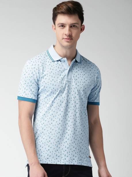 MAST & HARBOUR Printed Men Polo Neck Blue T-Shirt