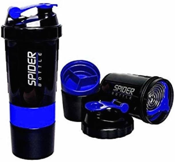 Ketsaal Spider Protein Shaker Bottle 500ml with 2 Storage Extra Compartment for Gym (Blue) 500 ml Shaker