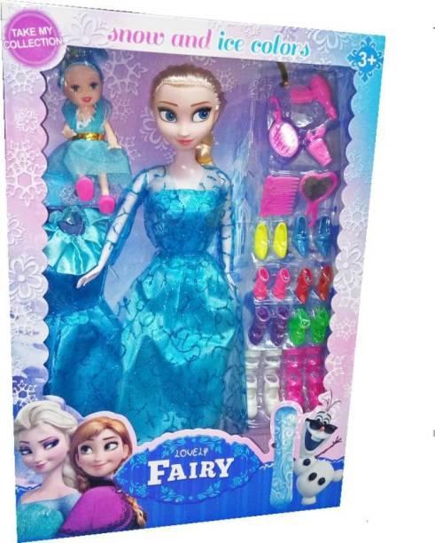 Kiyara Collection Princess Elsa Fashion Doll With baby doll & accessories for girls