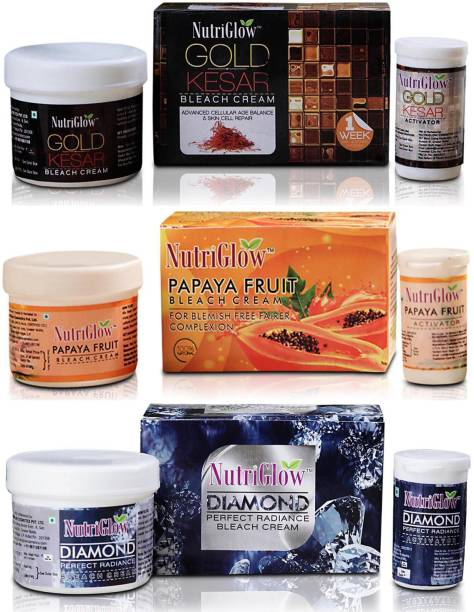 NutriGlow Gold Kesar Bleach, Papaya Bleach & Diamond Radiance Bleach