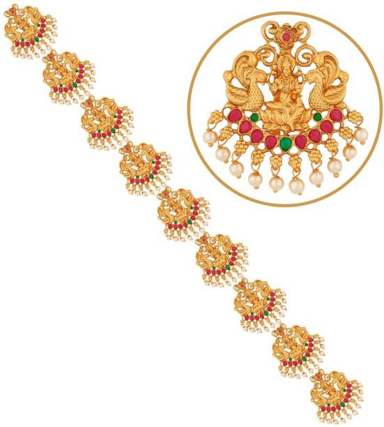 APARA Traditional Gold Plated Bridal Wedding Collection Antique finish jada Hair choti for women Hair Accessory Set