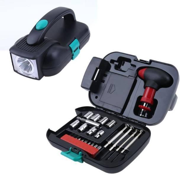 ROY 24 Pcs Portable Tool Box Set With Flashlight Vehicle Tool Kit