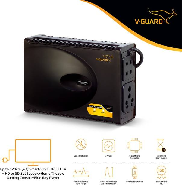 V-Guard Crystal Plus Supreme TV Voltage Stabilizer for 120 cm (47) TV+Set topbox+Home Theatre System (Working Range: 90-290V; 3 A)